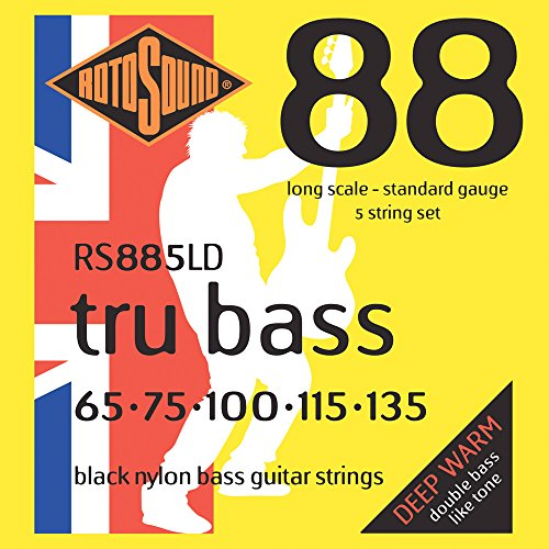 Rotosound RS885LD Black Nylon Flatwound 5 String Bass Guitar Strings (65-135)