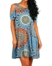 PCEAIIH Women's Summer Cold Shoulder Tunic Top Swing T-Shirt Loose Dress with Pockets