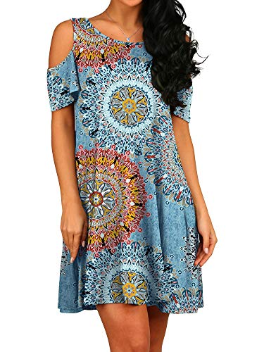 PCEAIIH Women's Summer Cold Shoulder Tunic Top Swing T-Shirt Loose Dress with Pockets Mix Blue S