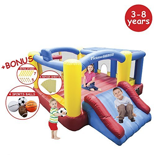 PicassoTiles KC102 12x10 Foot Inflatable Bouncer Jumping Bouncing House, Jump Slide and Dunk Playhouse Featuring Basketball Dunking Rim, 4 Sports Balls, Extended Slider, Full Size Entry, Quick (Jump And Slide Bouncer)