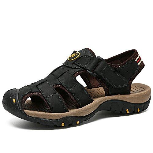Black con La Sandali in Punta Dimensioni Uomo Deodorante Chiusa Pelle Scarpe per Escursionismo Spiaggia Alpinismo da Outdoor Grandi Pantofole Antiscivolo Vera di 47 38 gqAw5wE