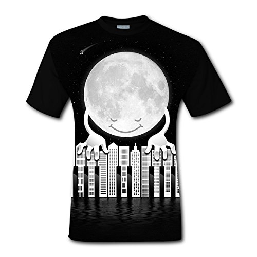 City Piano Moon T-shirts Tops Short Sleeve Tee Shirt Sports Style for Men M (Light Synchronized Christmas Diy Show)