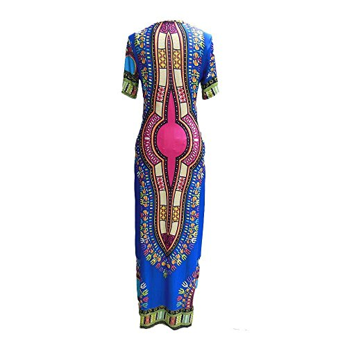 Dress Bodycon Canserin Women Dress Dashiki Traditional Print African Party Blue twxvOqp