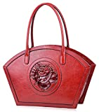 PIJUSHI Women Designer Shoulder Handbag Floral Leather Tote Purses 17020(One Size, Red Rose)