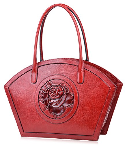 PIJUSHI Women Designer Shoulder Handbag Floral Leather Tote Purses 17020(One Size, Red Rose) by PIJUSHI