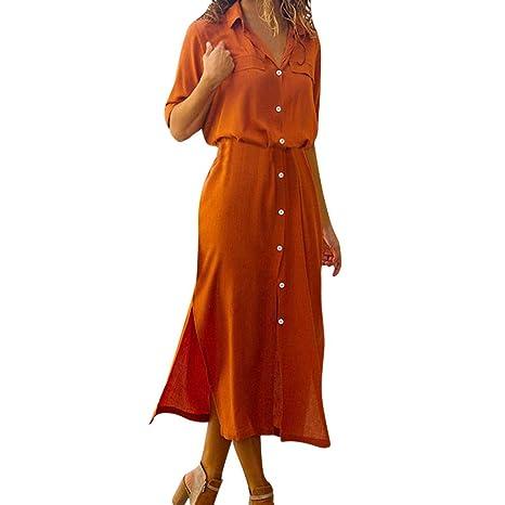 Dragon868 Botón Ocasional de Las Mujeres Vestido Largo de la Camisa Vestidos de Fiesta(Naranja