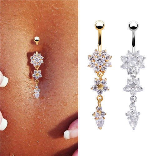 Beauty Crystal CZ Stone Flower Navel Belly Button Ring Bar Body Piercing Jewelry (Silver)