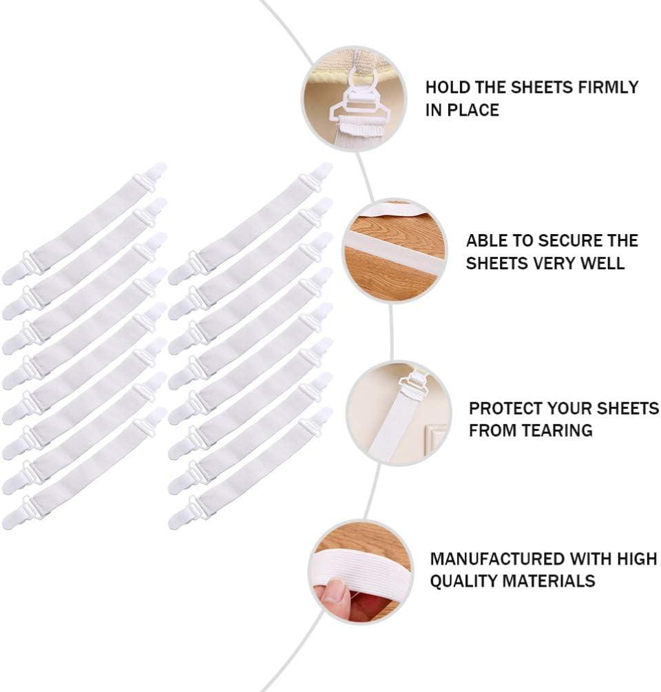 GARNECK 16 PCS Adjustable Bed Sheet Clips Fasteners Duvet Cover Clip Elastic Mattress Sheet Clips Comforter Grippers Quilt Fixed Clips