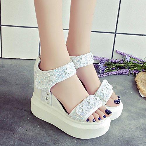 RUGAI-UE Sandalias de suela gruesa Mujer Verano Sequined Waterprohigh-Heeled Zapatos Zapatos de mujer White