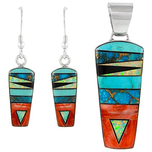 (Turquoise Network Southwest Style Gemstone Pendant & Earrings Set in 925 Sterling Silver)