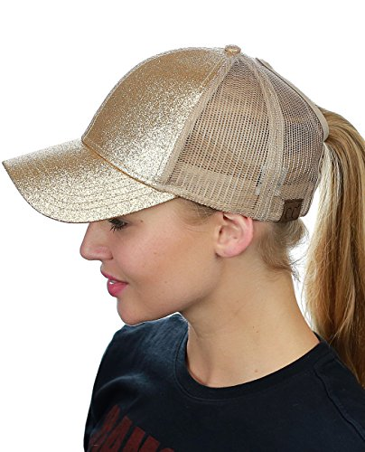 (C.C Ponycap Messy High Bun Ponytail Adjustable Glitter Mesh Trucker Baseball Cap, Gold,One Size )