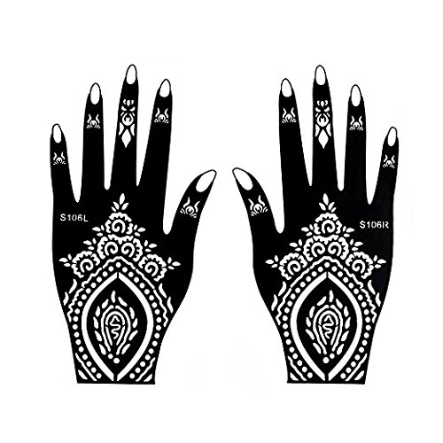 Henna Tattoo Stencil / Temporary Tattoo Temples Set of 8 Sheets,Indian Arabian Tattoo Reusable Stickers Stencils Body Art Designs for Hands (Vintage Collection) by Diva Woo (Image #4)