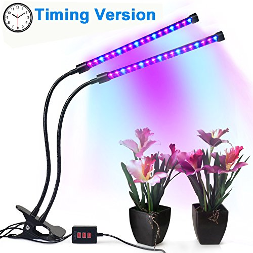 Tankuy Dual Lamp Grow Light Profession Plant Lamp Lights 36LED 4 Levels Timing(3H/6H/12H) with 360 Degree Flexible Gooseneck for Indoor Plants Small Growing Tent Home Hydroponic Garden Greenhouse by Tankuy