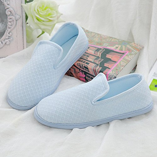 Women Non Shoes BUYITNOW Slippers Blue Comfort Indoor Plush Cozy Home Slip OFSAqw