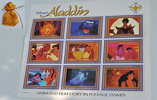 Guyana 1993 Disney's Aladdin Animated Film Story In Postage Stamps Sheet MNH Val. $50 x 9 Rare Collectible Postal Cards Get Free Unique Design Gift