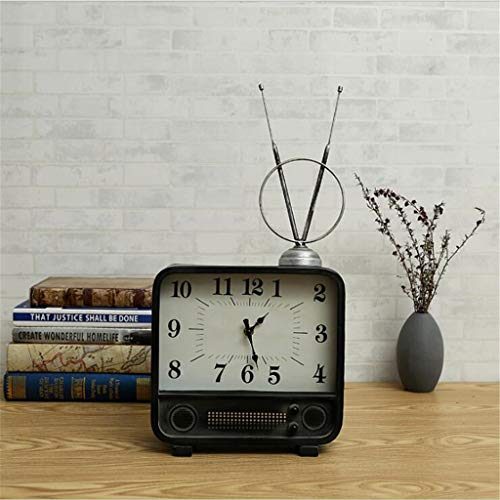 Creative European and American Vintage Table Clock Antenna TV Ornament Home Decoration Bedroom Metal Mute Square Black 26.226.29.5Cm ()