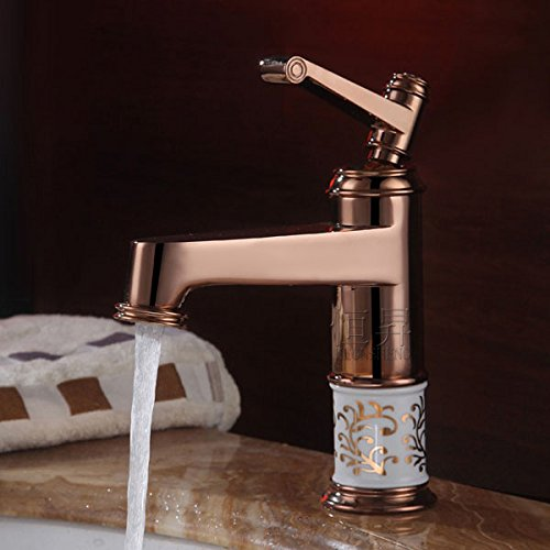The blue and white porcelain gilded zirconium Jintai Rose Gold Antique European basin faucet heightening leading cold basin faucet price