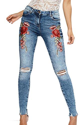 Jambires Les lastique Snowblue Femmes Floral Denim Trou Broderie Jeans Dchir 1rA18nCB