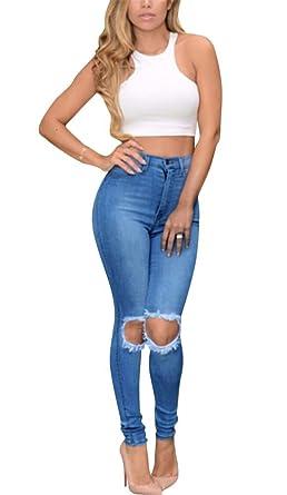 Brinny Damen Jeans Skinny Hose Zerrissen am Knie High Waist Jeanshose  Hochbund Löcher Röhrenjeans Bleistifthose Risse bc838354a1