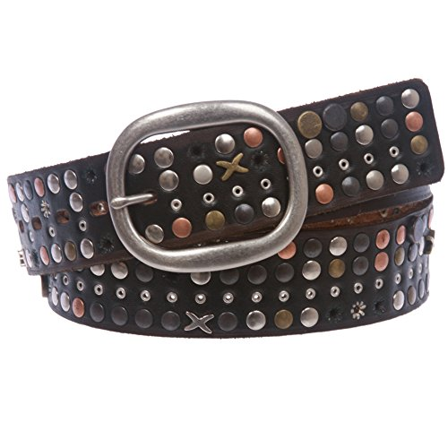Studded Vintage Jeans - 1 1/2 Vintage Cowhide Nailheads Studded Leather Jean Belt with Oval Buckle, Black | 42