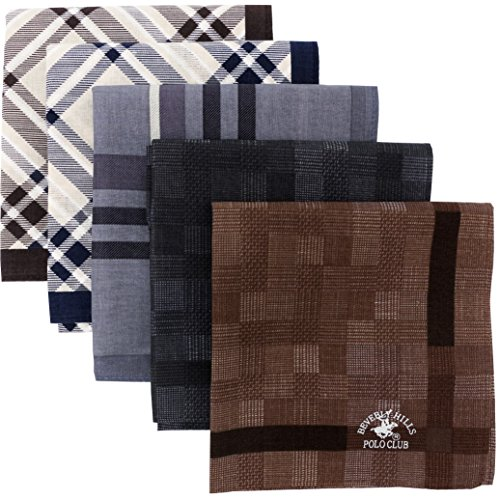 Leevo Handkerchief Men Assorted Woven Cotton 100% Hankies Fashion 5pack OPP Set Assorted (17.5inch B-assorted 5pack Bulk)
