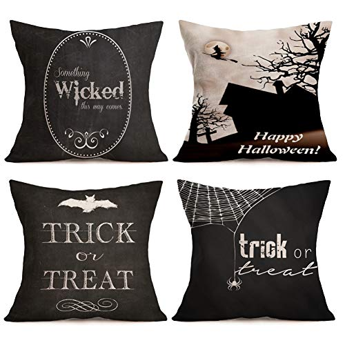 (Aremazing Happy Halloween Black Style Cotton Linen Home Décor Pillowcase Throw Pillow Cushion Cover 18 x 18 Inches Set of 4 Trick or Treat (Set of 4 Happy)