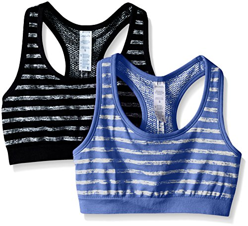 Jockey Women's 2 Pack Reversible Tonal Space Dye Seam Free Sport Bra, Black/Periwinkle, Medium