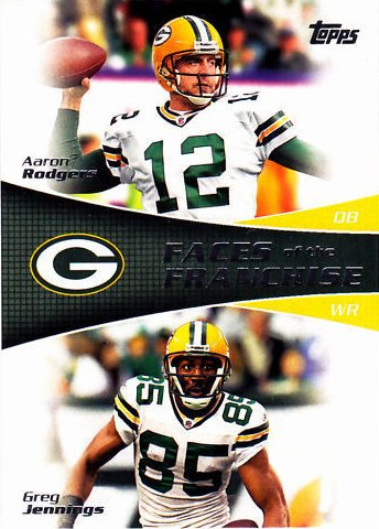 nd Greg Jennings Topps Faces of the Franchise Dual Green Bay Packers Stars Mint Insert Card #FF-RJ Shipped in a Protective Screw Down Holder (Franchise Green)
