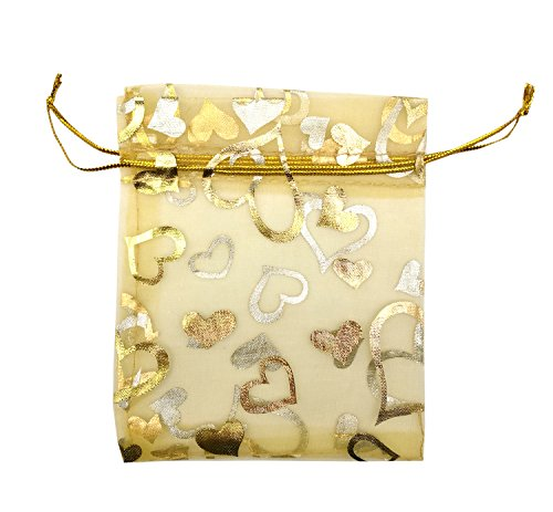 SUNGULF 100pcs Organza Pouch Bag Drawstring 4x5 Inch Strong Gift Candy Bags Jewelry Party Wedding Favor (Gold Heart)