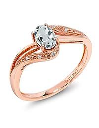 10K Rose Gold 0.47 Ct Sky Blue Aquamarine and Diamond Engagement Ring