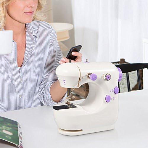 Máquina de Coser eléctrica Mini máquina de Coser eléctrica de Mano para el hogar Máquina de Coser de Dos Cables y Dos velocidades para Principiantes Costura práctica ...
