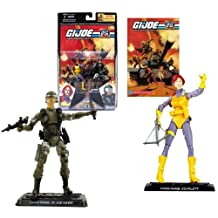 Hasbro Year 2007 G.I. JOE 25th Anniversary Comic Pack Series 2 Pack 4 Inch Tall Action Figure - SCARLETT with Crossbow and GI JOE HAWK with Rifle and Gun Plus 2 Display Base and Comic Book