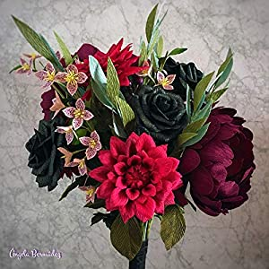Wedding bouquet of paper flowers with burgundy dalhias, black roses and peonies 81