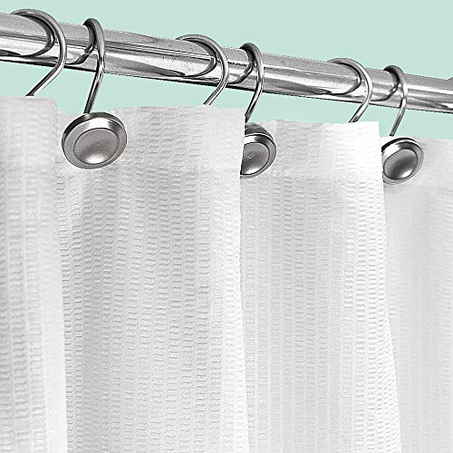 Sunlit Design Extra Long Polyester Blend Fabric 3D Textured Extra Long Shower Curtain, Machine Washable, Water Repellent for Bathroom Showers and Bathtubs - 70