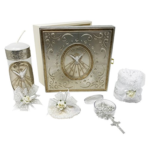 Premium Catholic Baptism Kit in a Repujado Box with Towel, Candle, Rosary and Shell for Baby Boys and Girls. Handmade in Mexico Gift for Godparents. Holy Spirit Baptism Candle Set. - Set Christening