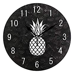 ALAZA Home Decor Cartoon White Pineapple Fruit 9 inch Round Acrylic Wall Clock Non Ticking Silent Clock Art for Living Room Kitchen Bedroom