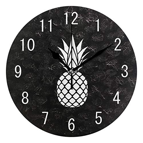 - ALAZA Home Decor Cartoon White Pineapple Fruit 9 inch Round Acrylic Wall Clock Non Ticking Silent Clock Art for Living Room Kitchen Bedroom