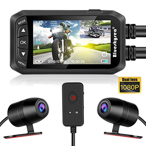 "Blueskysea DV128 Motorcycle Dash Cam 1080P Dual Lens Video Recorder Motorcycle Camera 2.7"" LCD Front and Rear Waterproof DVR with G-Sensor, Loop Recording,GPS,Manual Lock,Night Vision,130 Degr (DV128)"