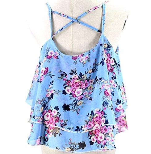WanYang Mujeres Sin Mangas Floja De Las Mujeres Del Verano Del Tanque Ocasionales De La Camiseta Del Chaleco Tapas De La Blusa Azul