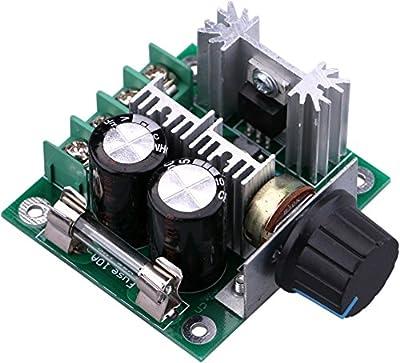 Yeeco DC Motor Speed Controller 10V-40V 10A PWM Controller DC 12V 24V 36V Variable Volt Regulator Cooling Fans Dimmer Governor Stepless Motor Speed Control Regulator with Reverse Polarity Protection
