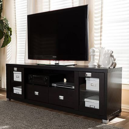 Amazoncom 70 Tv Stand Lapped Particleboard With Dark Brown Wood