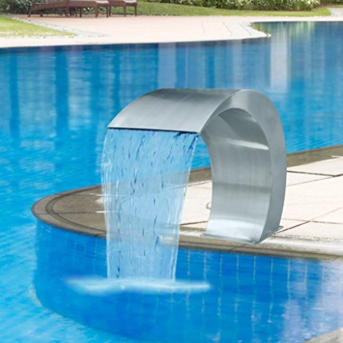 Festnight- Waterfall Pool Fountain Stainless Steel Descent Water Feature Spillway Garden Outdoor In Ground Pools Waterfalls Sheer Fountain 11.8 x 23.6 x 17.7 Inches (W x D x H)