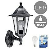 Vintage Victorian Style Brushed Silver And Black Outdoor Garden Security IP44 Rated Wall Light Lantern - Featuring An Integrated Dusk To Dawn Sensor - Complete With 1 x 6w LED ES E27 Bulb