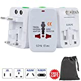 Travel Plug Adapter, European Converter, International Universal Power Converter Plug, All in One Outlet Converter, Travel Converter, European Electrical Adapter for Ireland Spain Without USB (White)