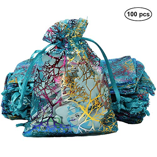 Drawstring Gift Bags, 100 Pack Organza Candy Pouches Blue Coralline, Christmas Jewelry Chocolate Decoration Bags, Durable and Easy Storage Pouch for DIY Dried Flower Tea Vanilla, Small 7cm x ()