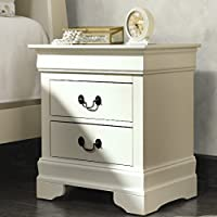 2-Drawer Dove tail, Manufactured wood with wood veneers and metal drawer glides Nightstand, No Assembly Required Nightstand (Beige)