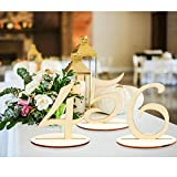 #1: AerWo Wooden Table Number 1-20 Wedding Table Number with Base for Wedding Reception and Wedding Table Decorations