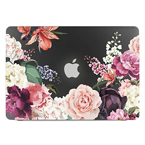 Lapac MacBook Pro 15.4 Retina Case Floral, Rose Flower 3D Effect Black Clear See Through Hard Shell Case with Retina Display(Model: A1398, NO CD-ROM Drive) (Best Case For Macbook Pro 15.4)