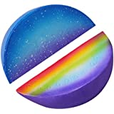 Pausseo Rainbow Starry Watermelon Slices Pack of 6 Toy Cream Scented Stress Reliever Kids Squeeze Gift Toy Slow Rising Stress Toys Pressure Vent Hand Toy Decompression Educational Toy (A-1Pack)