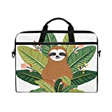 JOYPRINT Laptop Sleeve Case, Cute Animal Baby Sloth Palm Leaves 14-14.5 inch Briefcase Messenger Notebook Computer Bag with Shoulder Strap Handle for Men Women Boy Girls